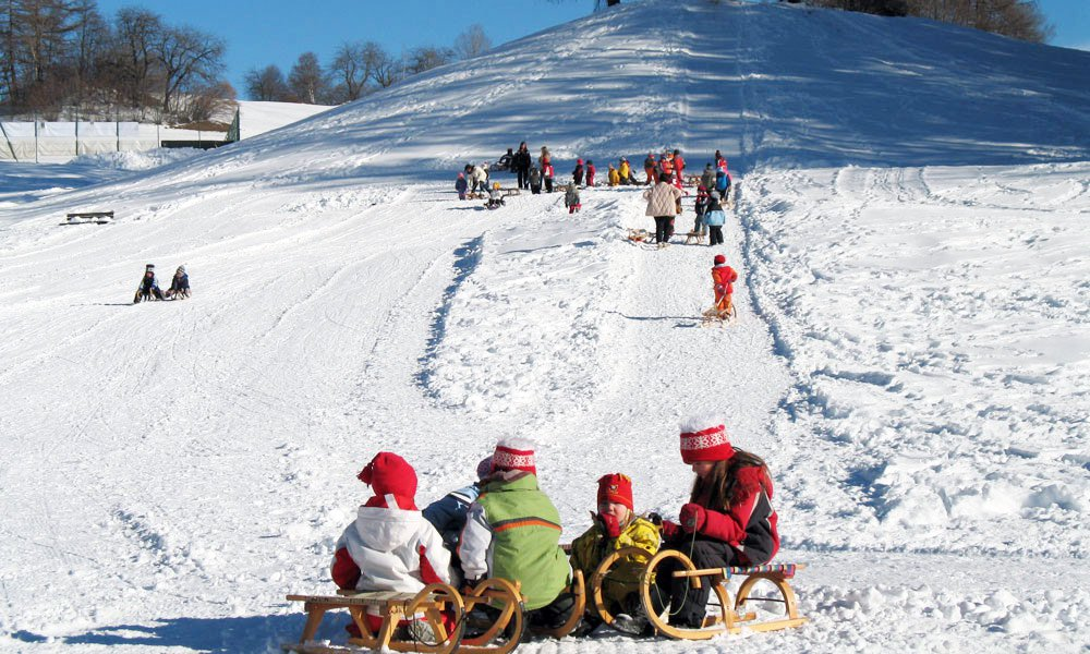 Combine a winter walk with a visit to a toboggan run